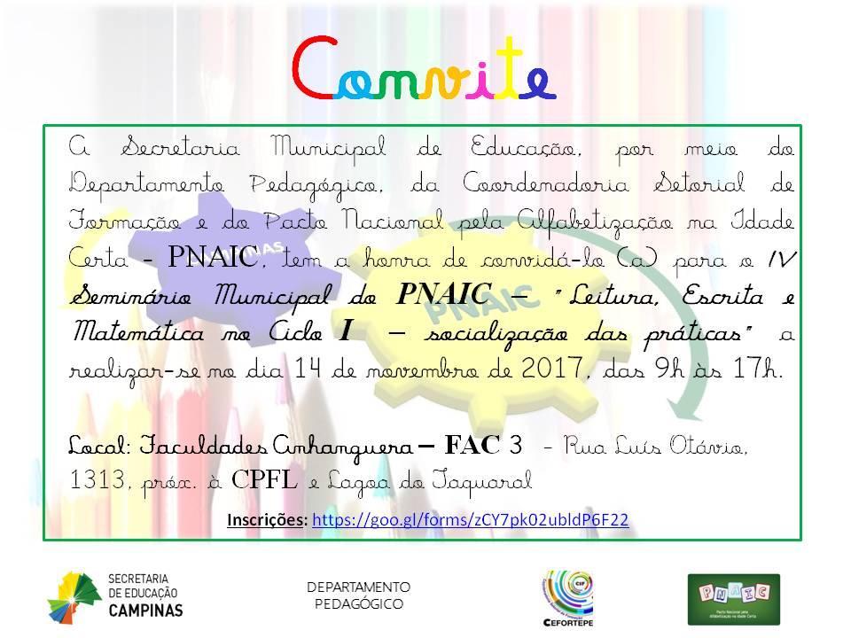 Convite Do Iv Seminário De Práticas Pedagógicas Do Pnaic